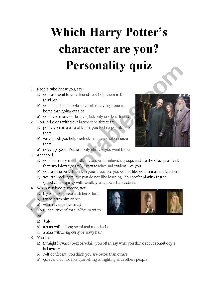 Which Harry Potter's character are you? Personality quiz