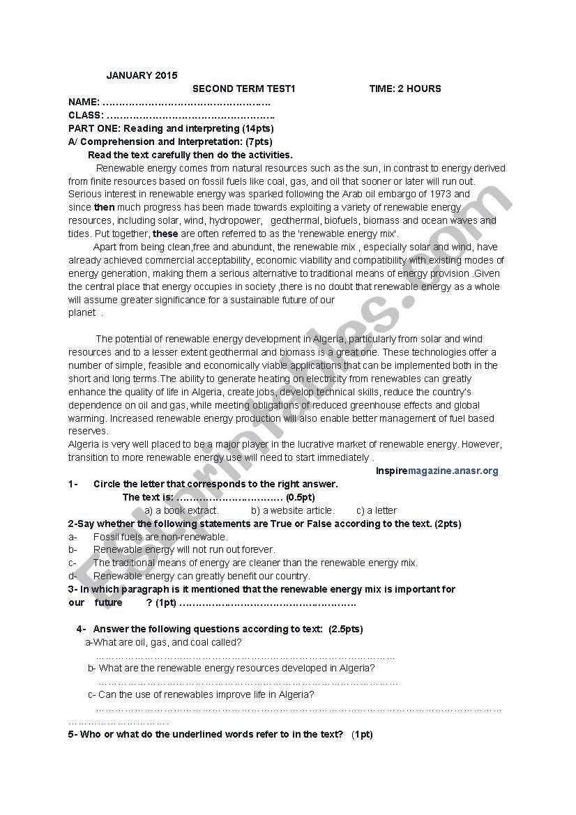 test renewble energy  worksheet
