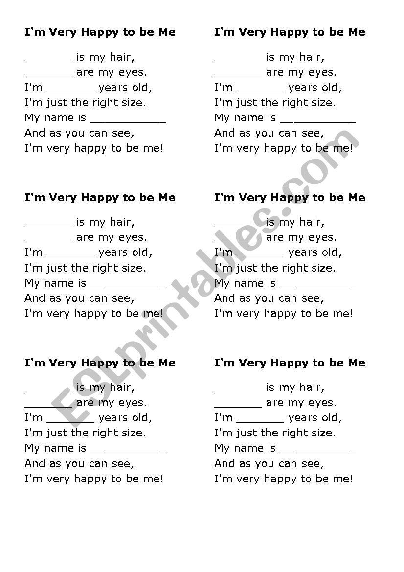 Im Very Happy To Be Me Poem Esl Worksheet By Luci23