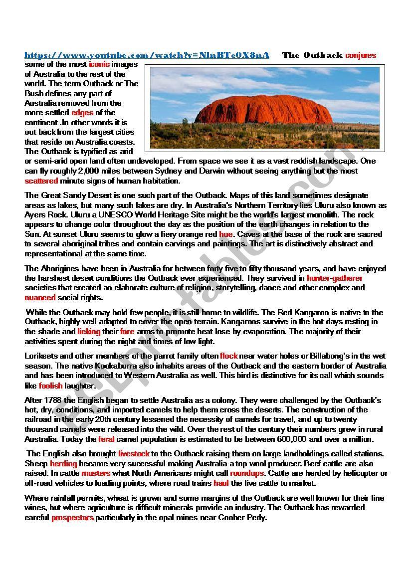 Australia, Outback and Tourist destinations