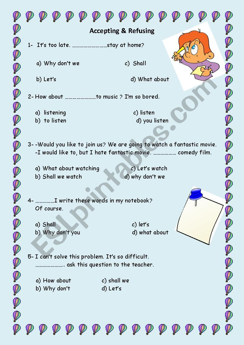 accepting & refusing  worksheet