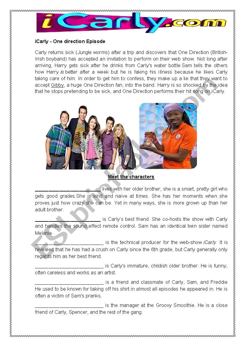 Icarly - I go one direction - ESL worksheet by Narahpascoal