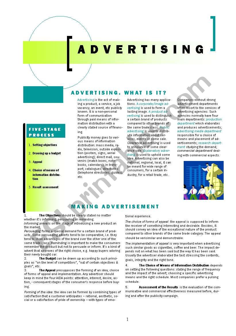 ADVERTISING worksheet
