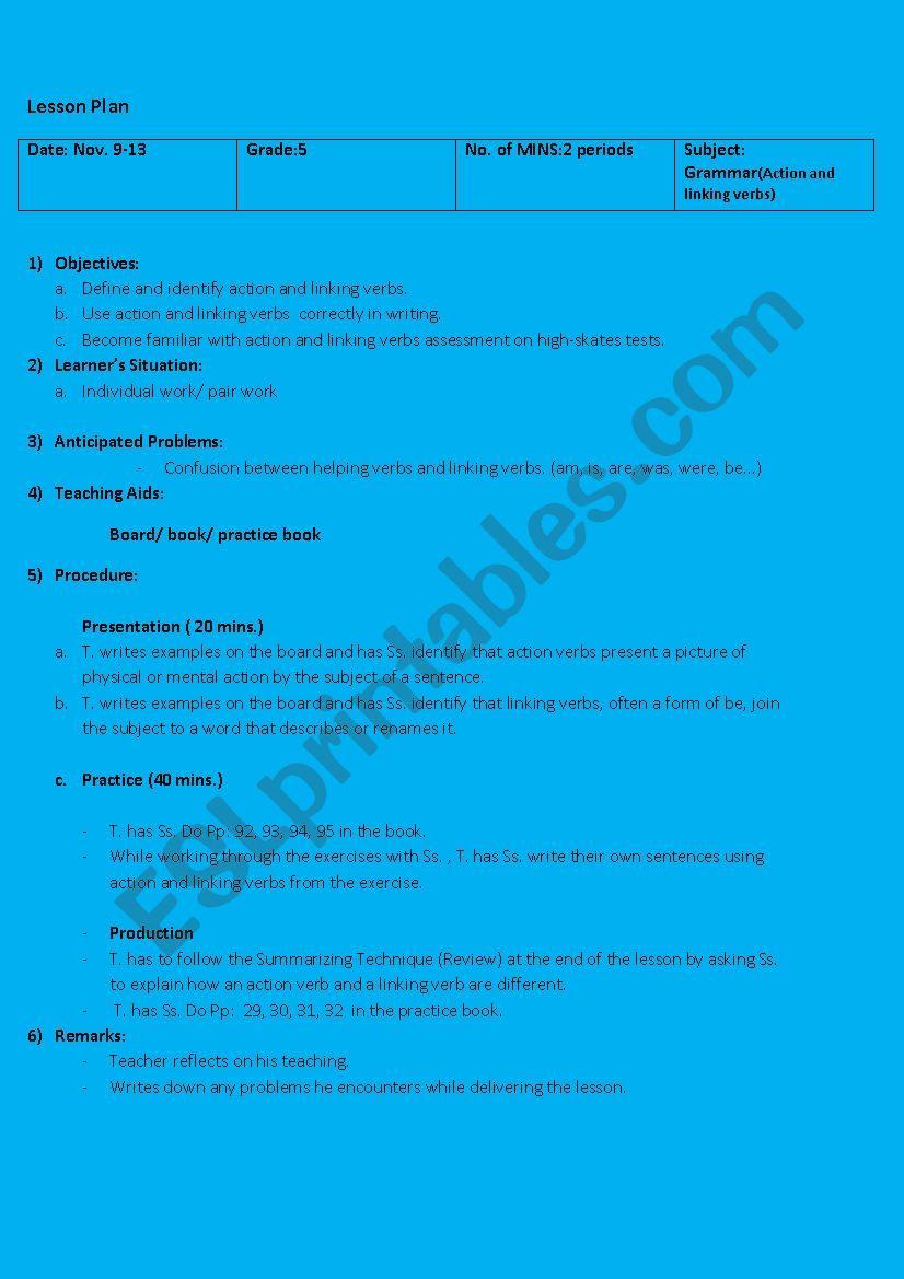 Lesson Plan Grade 5 Action Linking Verbs Esl Worksheet