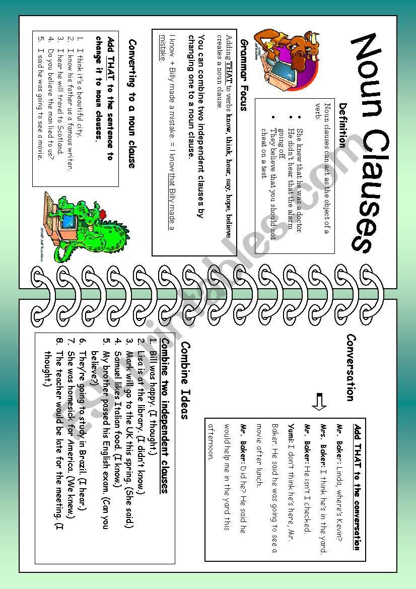 Noun Clauses: Using That worksheet