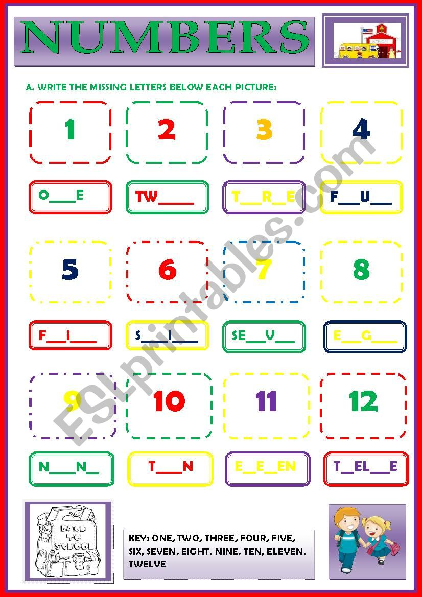 NUMBERS (cardinal) worksheet