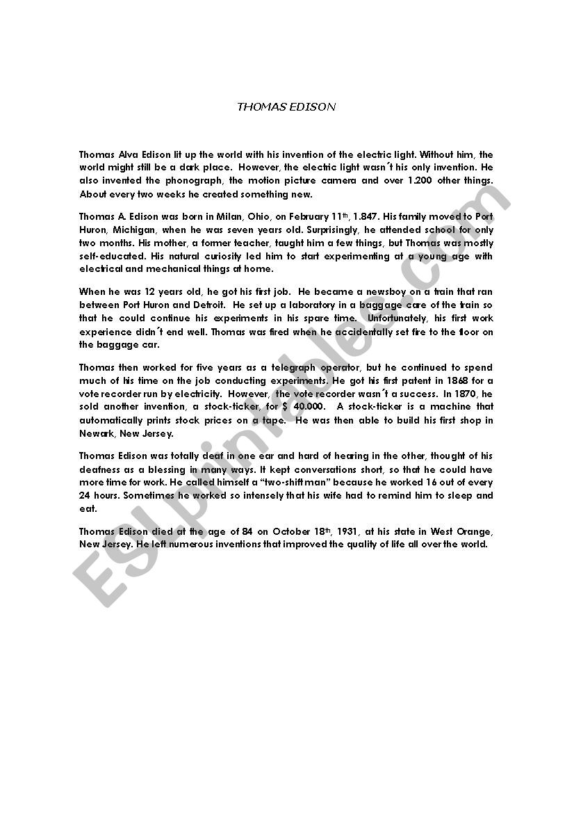 THOMAS ALVA EDISON worksheet