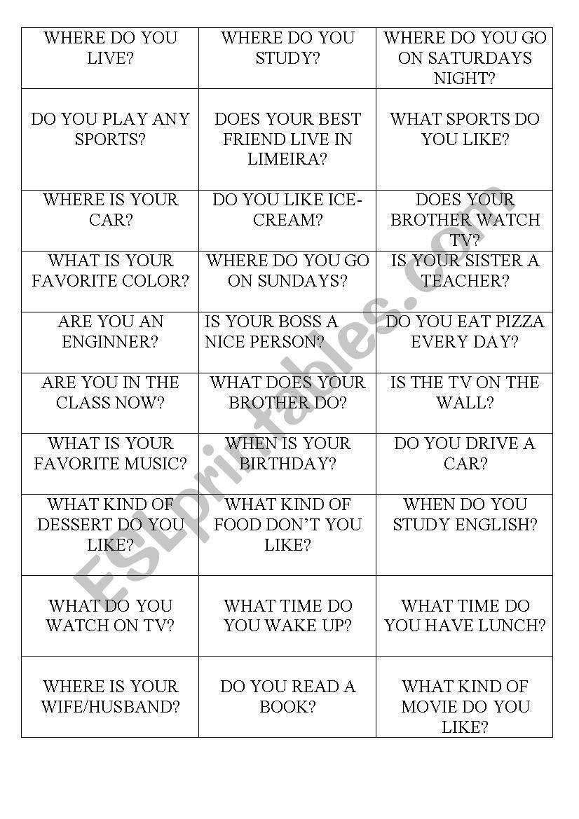 QUESTIONS worksheet