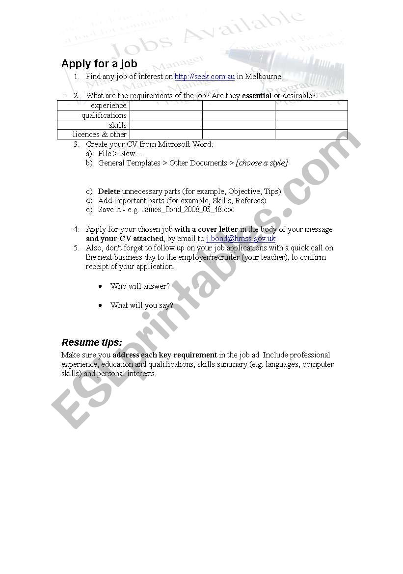 find a job  apply for it  resume  cover letter  follow up