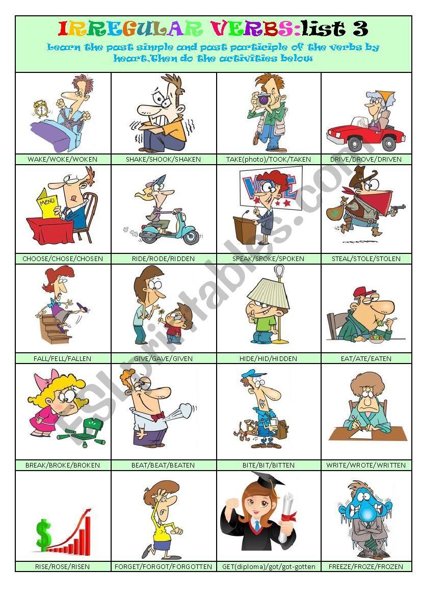 Irregular Verbs List 3 worksheet