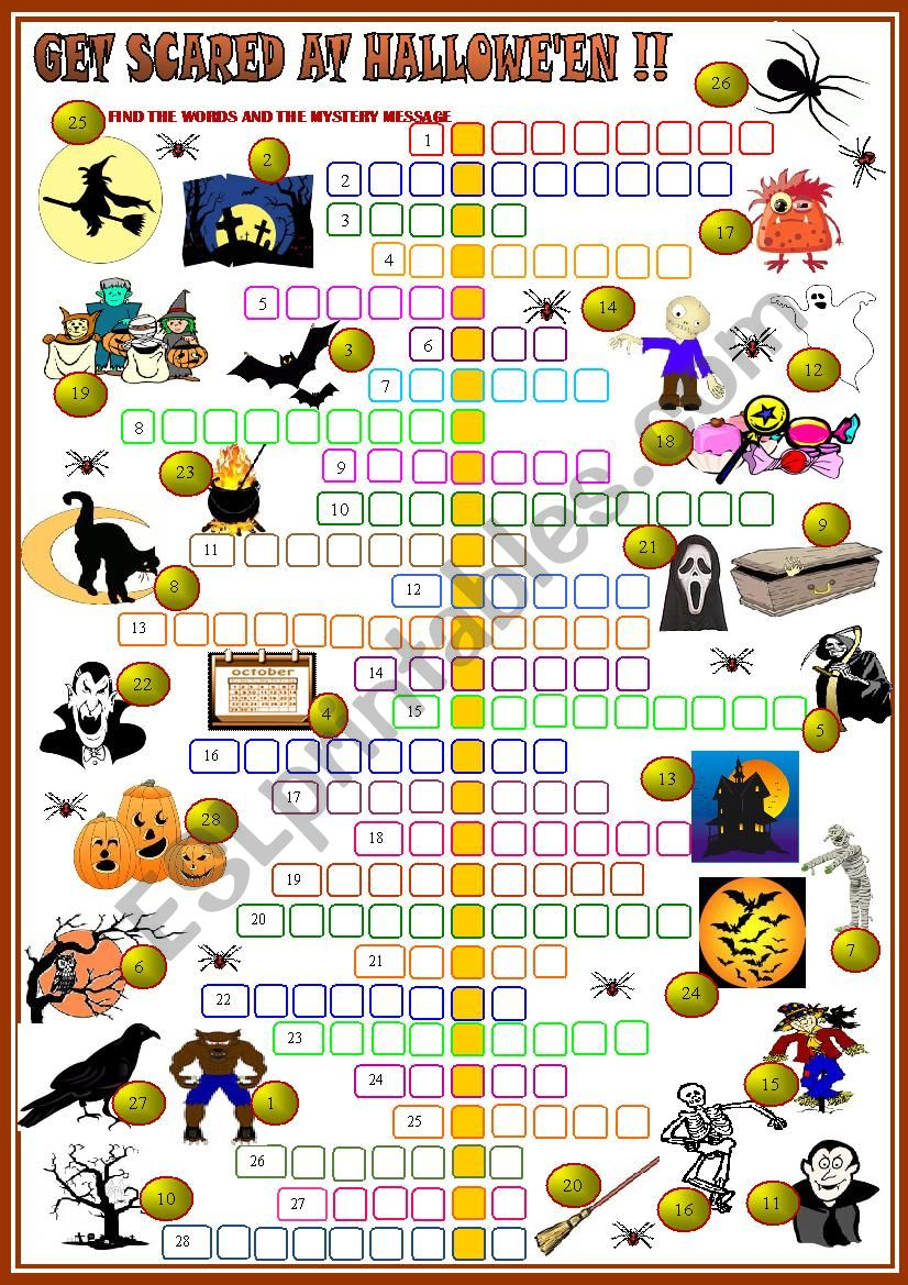 Get scared at Hallowe´en !:crossword 2 with KEY
