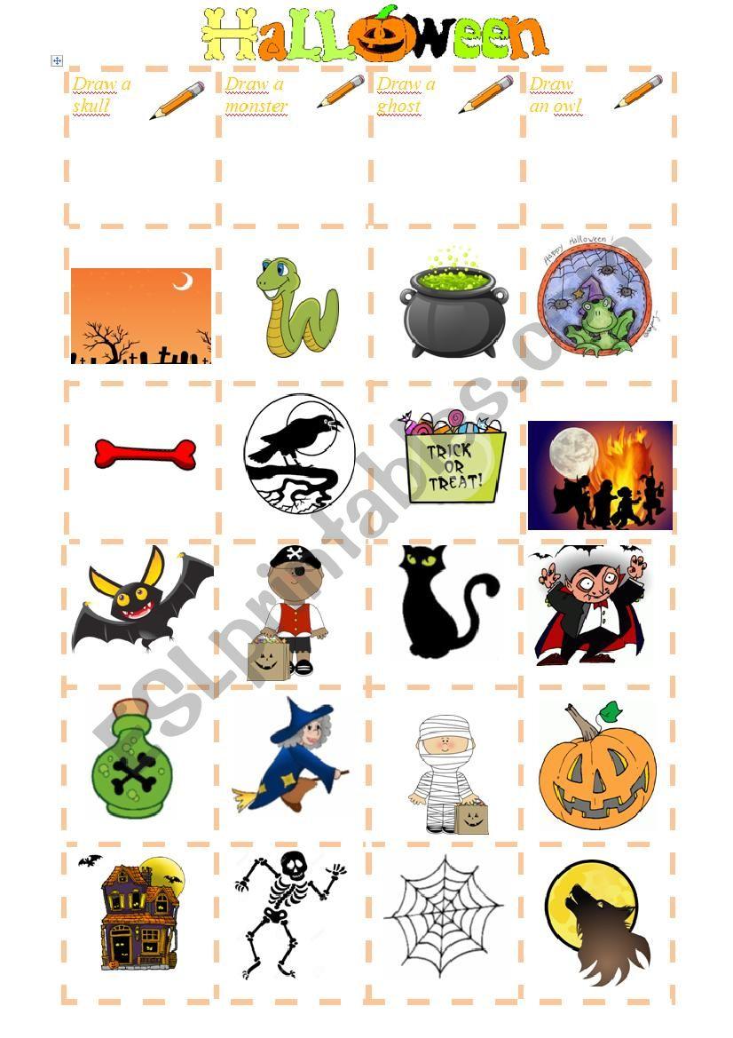 Halloween Bingo worksheet