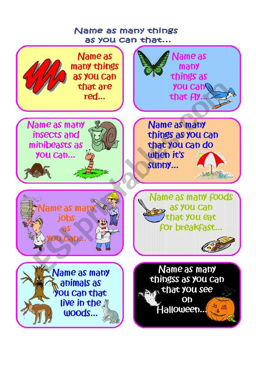 Name as many things as you can in a minute Vocabulary Game Part 3 of 4