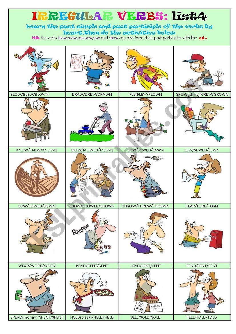 Irregular Verbs List 4 worksheet