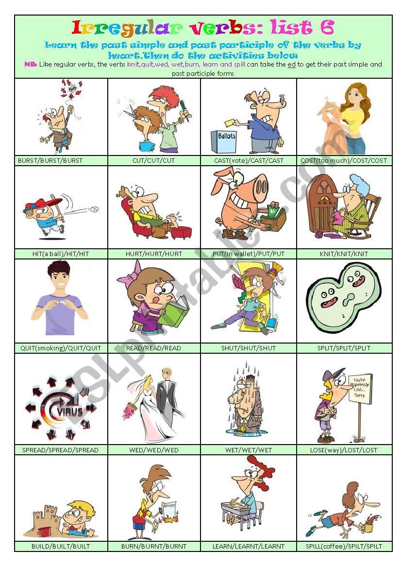 Irregular Verbs List 6 worksheet