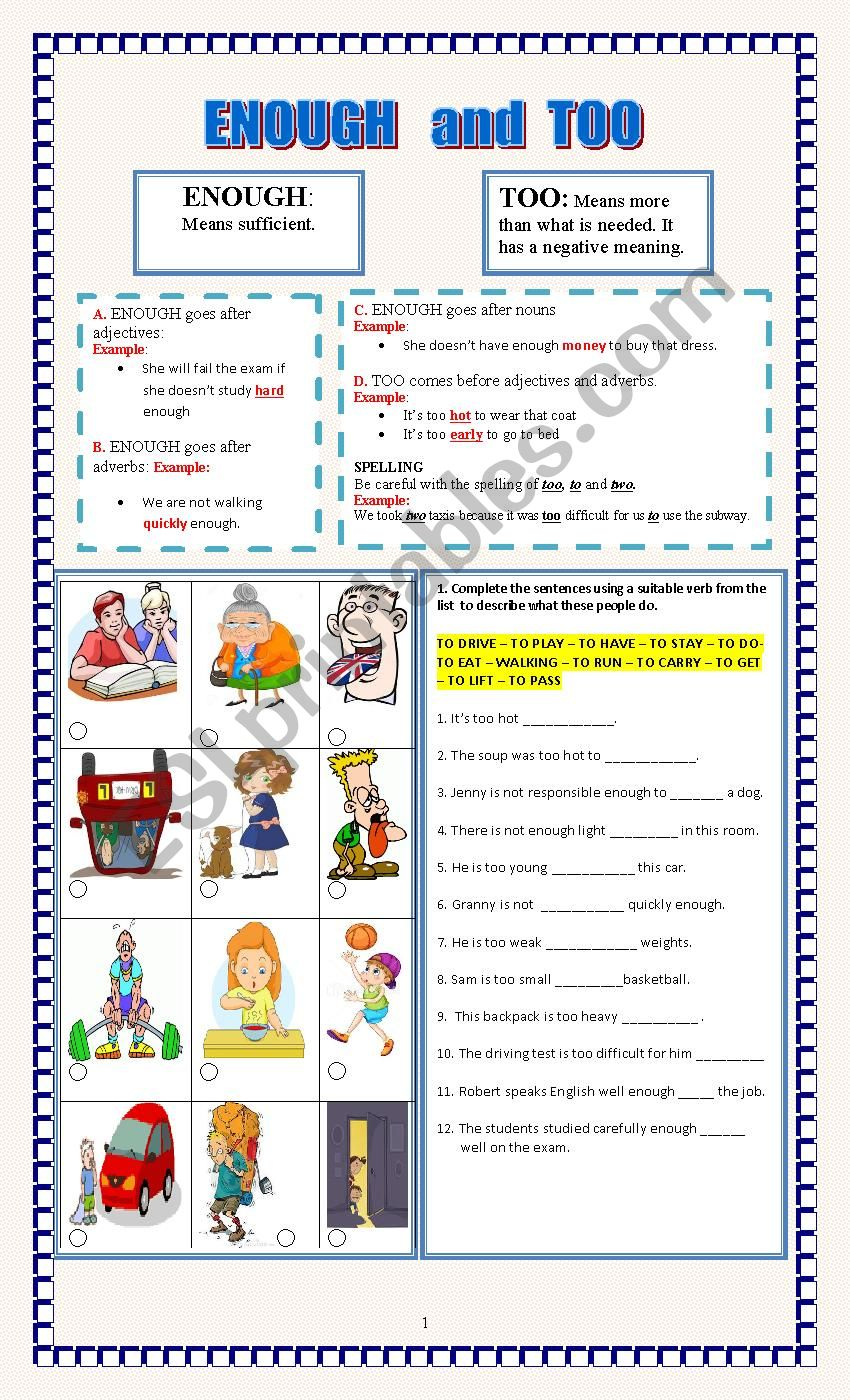 ENOUGH and TOO worksheet