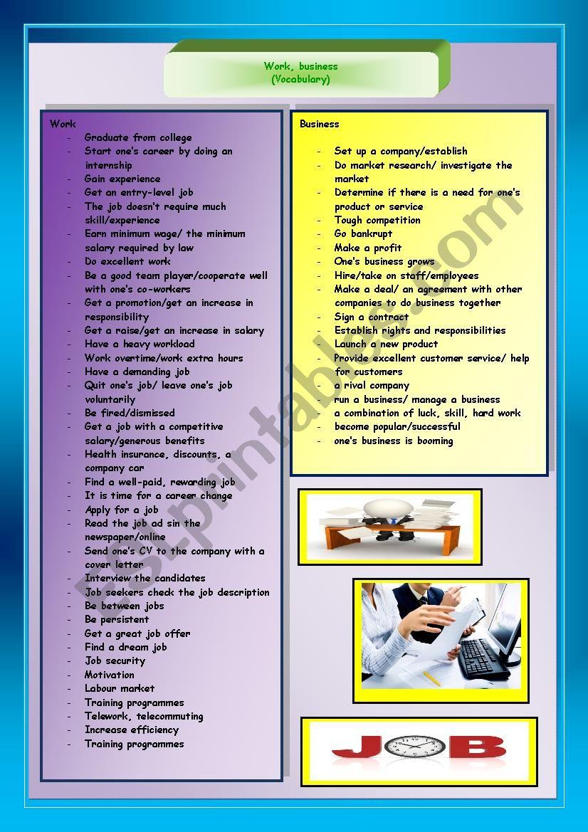Work, business (vocabulary) worksheet