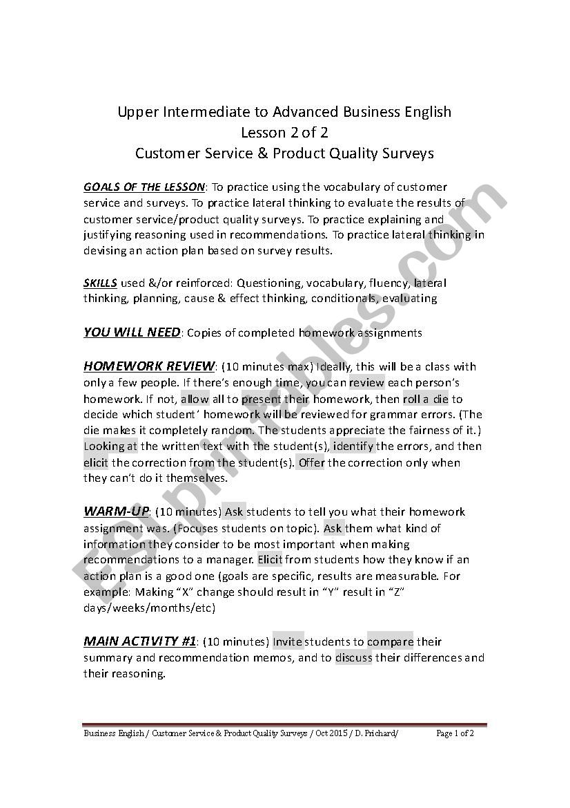 UPPER INTERMEDIATE TO ADVANCED BUSINESS ENGLISH - CUSTOMER SERVICE/PRODUCT QUALITY SURVEYS