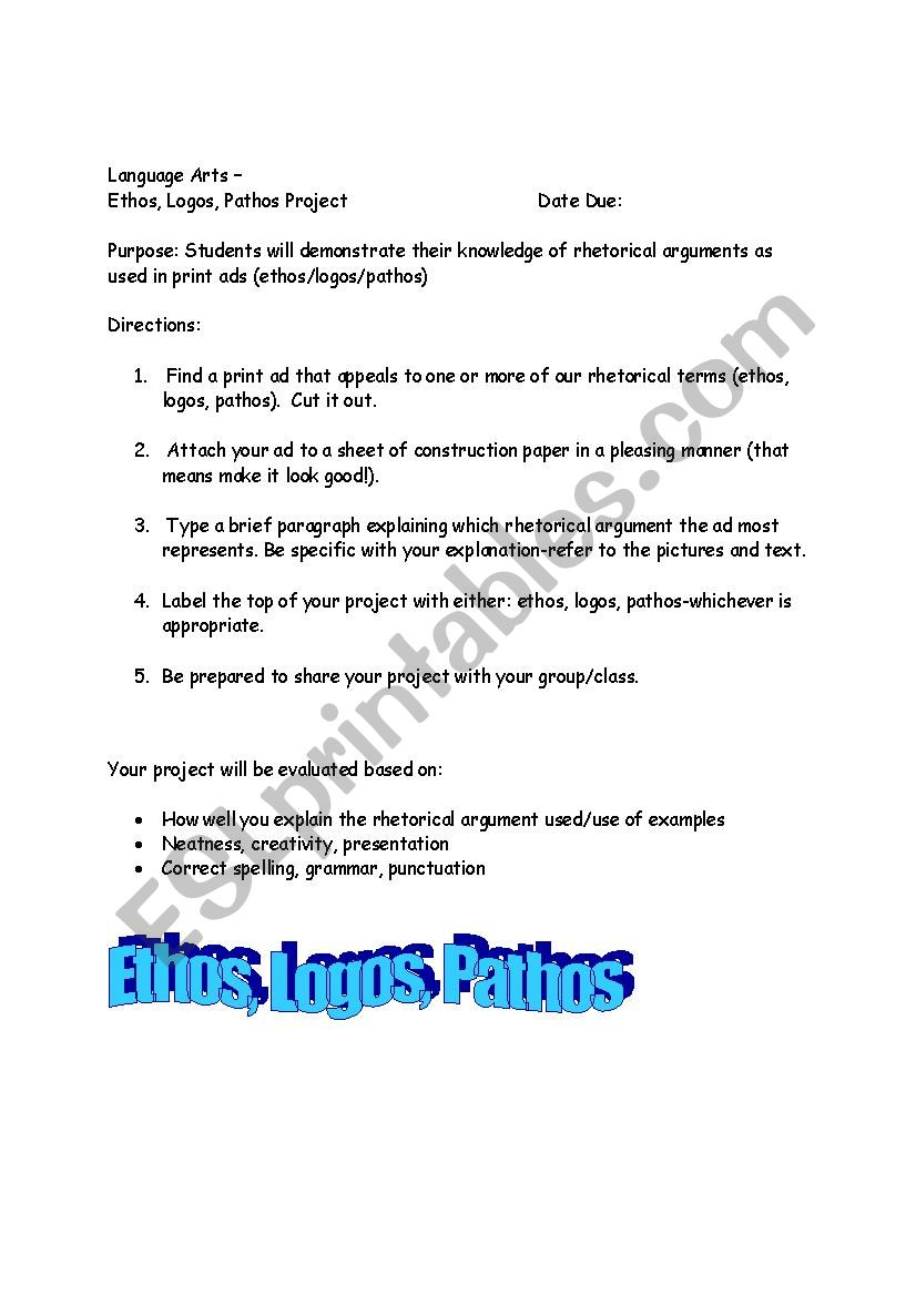 Ethos, Pathos, Logos - ESL worksheet by mmaiden