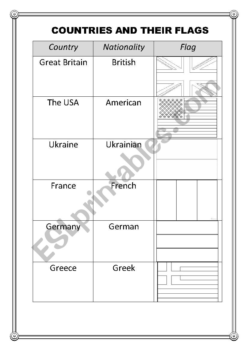 countries and their flags esl worksheet by katiapulko