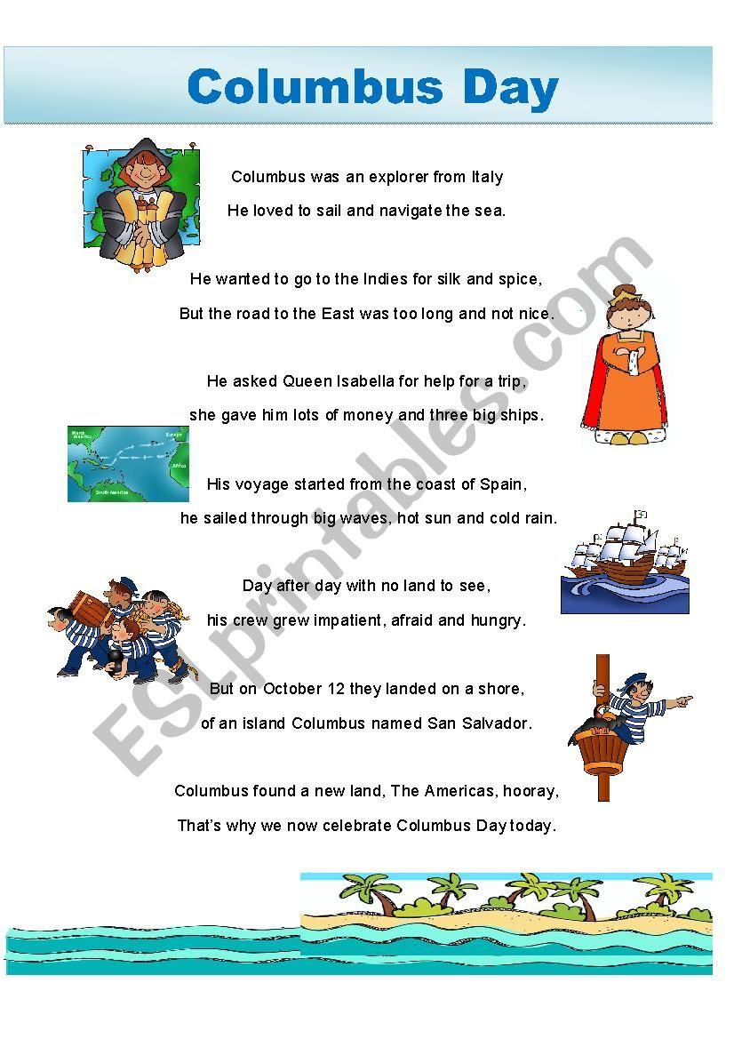 Columbus Day poem worksheet