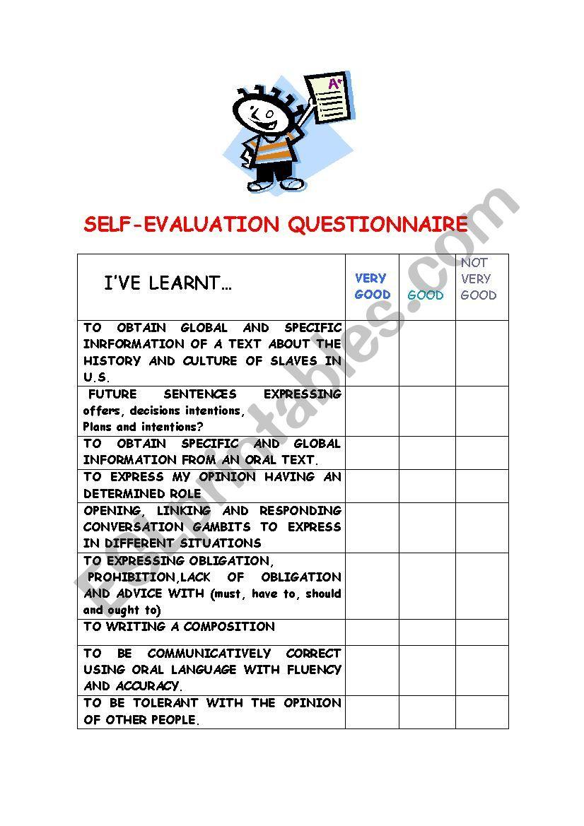 SELF-EVALUATION QUESTIONNAIRE worksheet