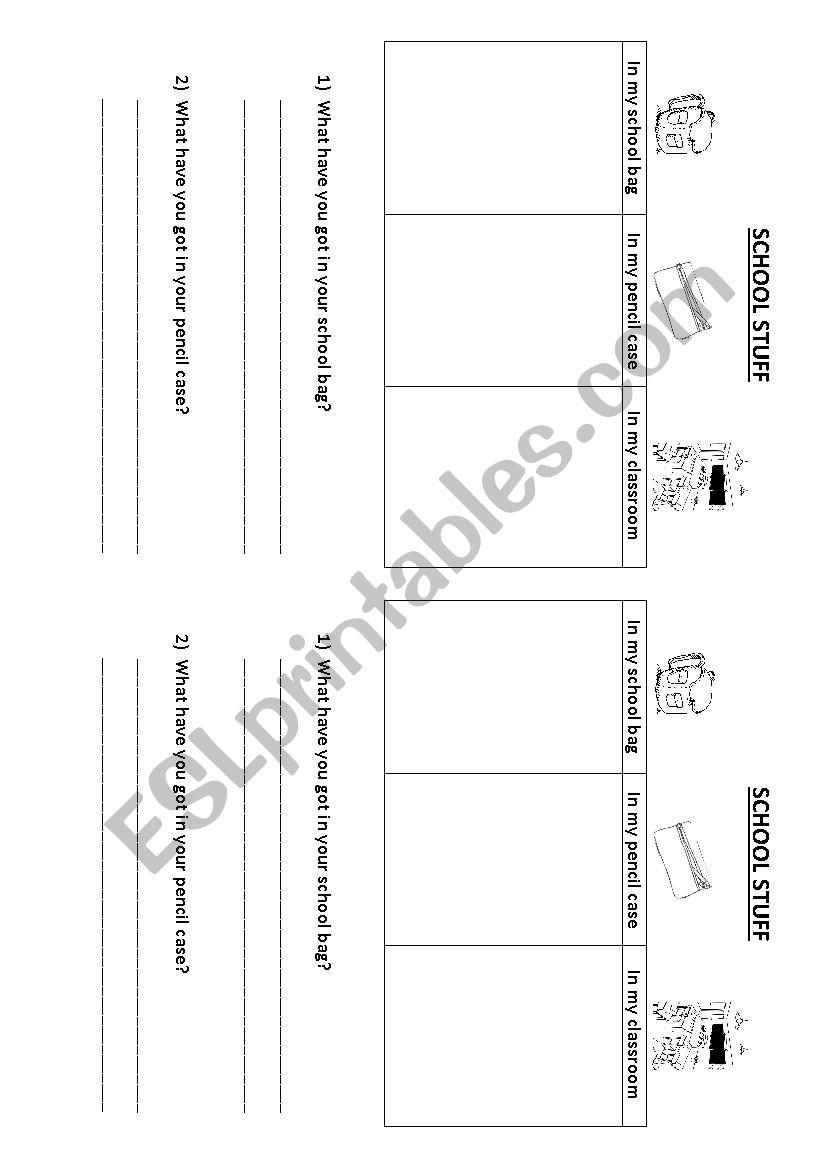 School stuff worksheet