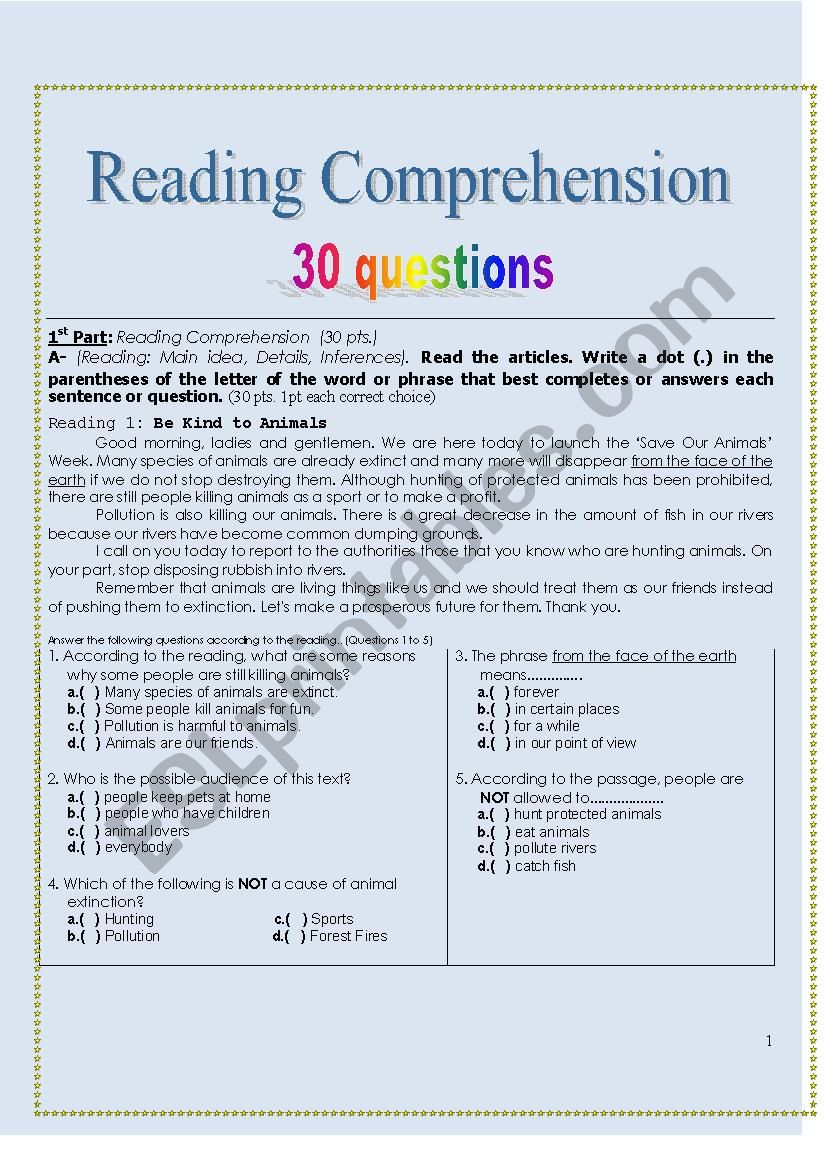- Reading Comprehension Exercises 30 Questions - ESL Worksheet By