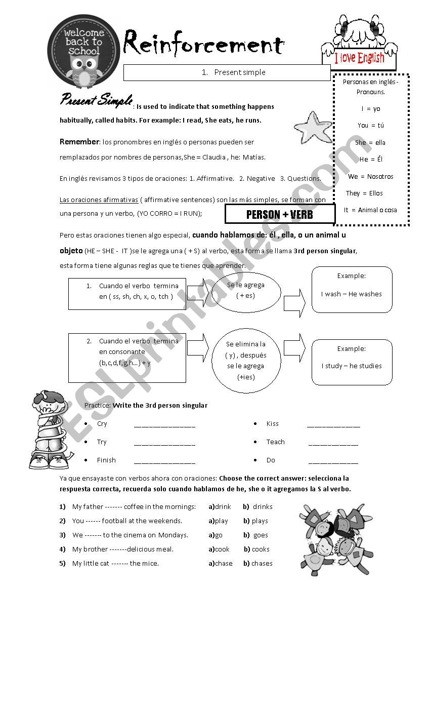 Present simple in spanish and there is and there are - ESL