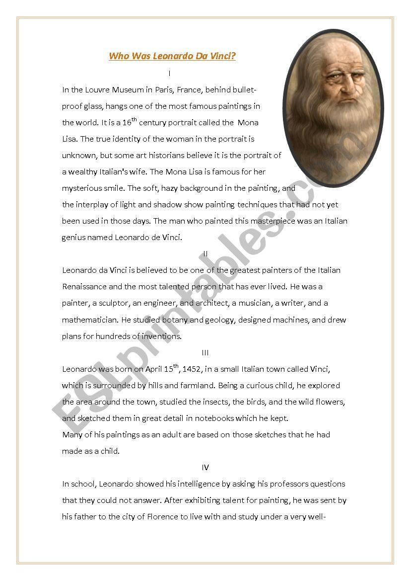 Who was Leonardo Da Vinci? worksheet