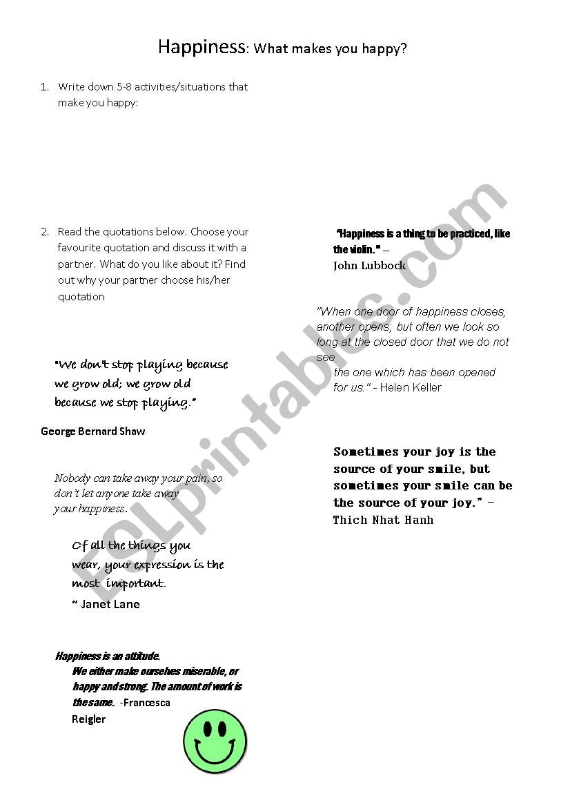 happiness worksheet quotations esl worksheet by rockmex