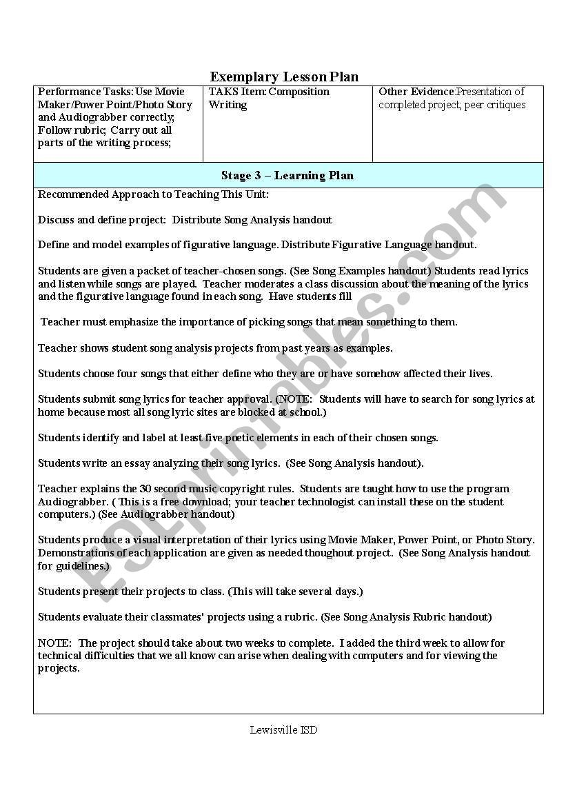 Song Analysis Lesson Plan - ESL worksheet by mcmichaelsd