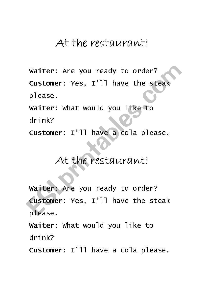 English worksheets: At the Restaurant Paired Dialogue