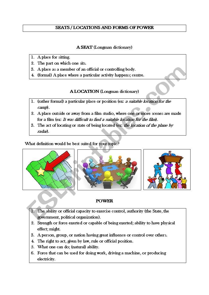 Oral Presentation Seats And Forms Of Power Esl Worksheet By Yayabird