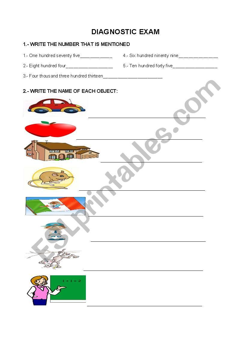 diagnostic exam worksheet