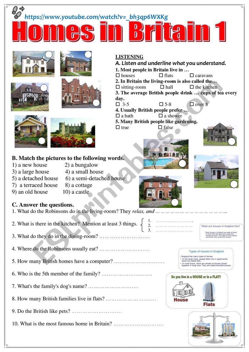 Homes in Britain 1  Listening + comprehension questions + video link.