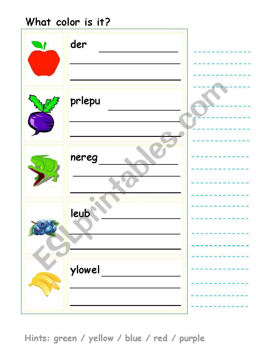 Unscramble the colors - ESL worksheet by sunshine001