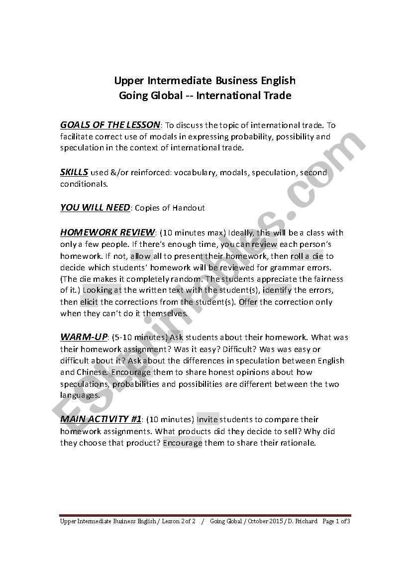 INTERMEDIATE BUSINESS ENGLISH - GOING GLOBAL - LESSON 2 OF 2