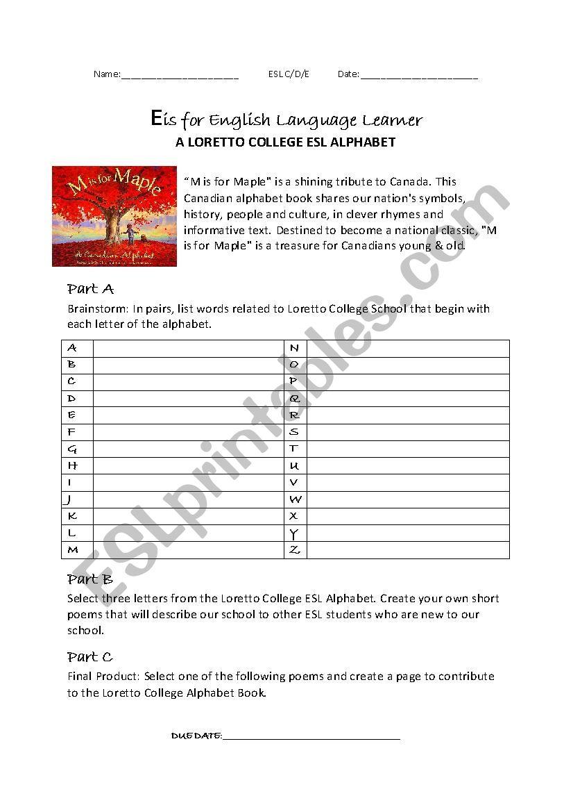 Poetry: ESL School Alphabet - ESL worksheet by vallel