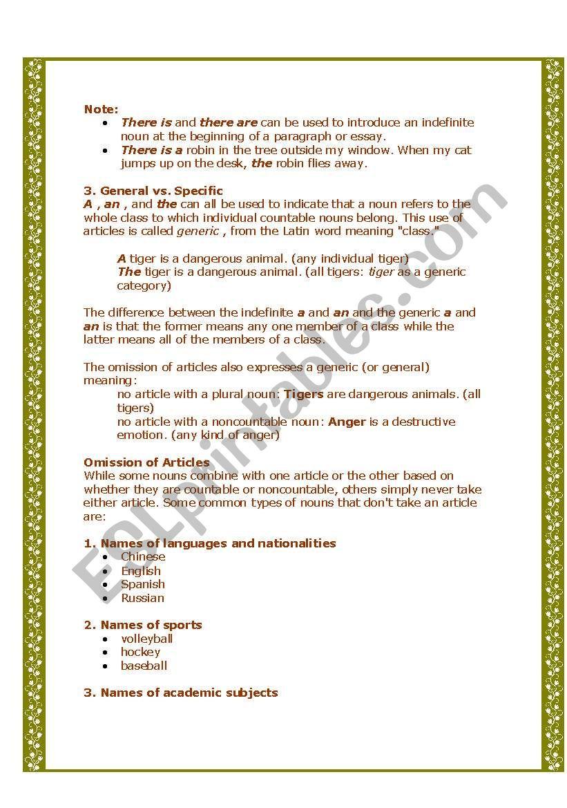 Articles - ESL worksheet by savina noronha