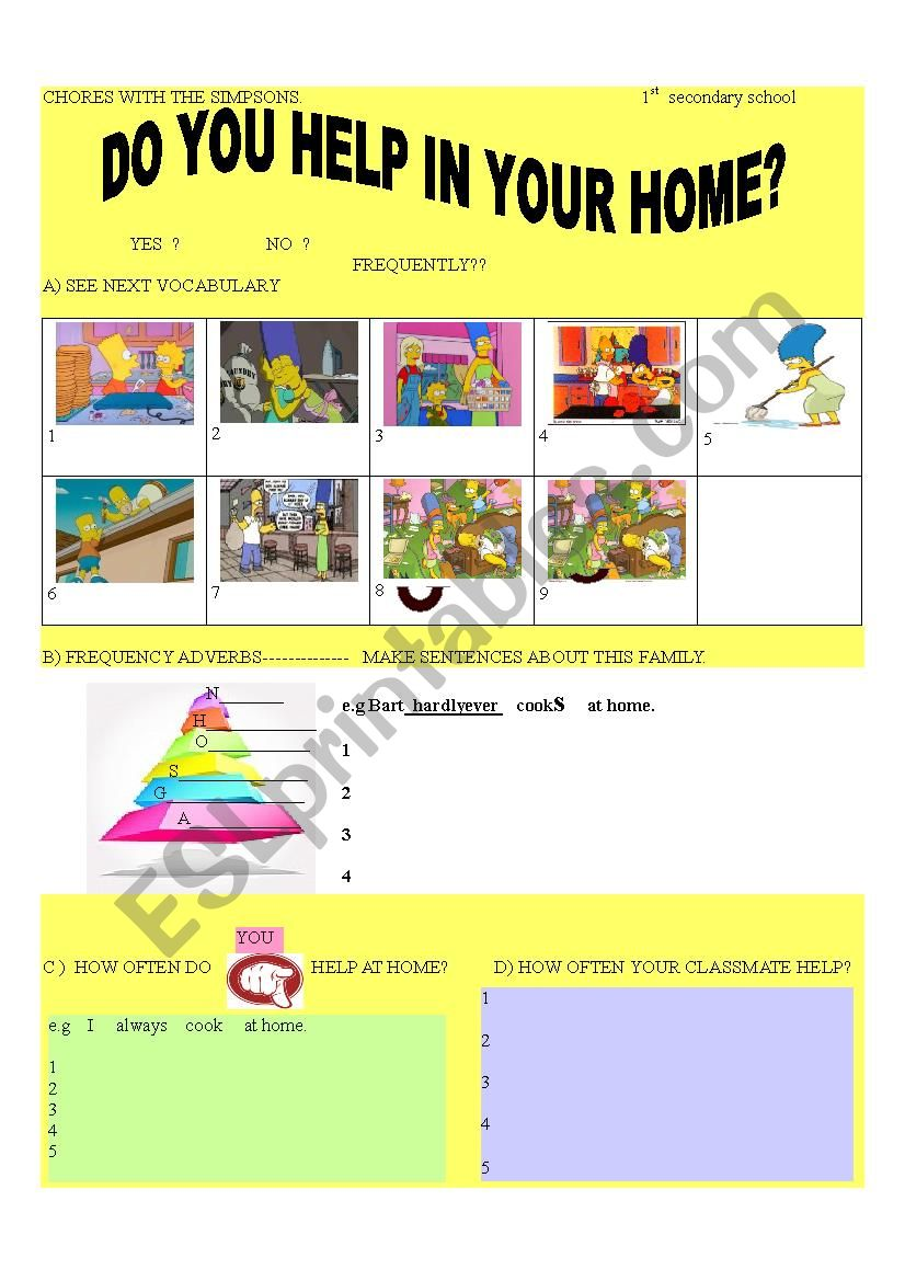 CHORES WITH THE SIMPSONS worksheet