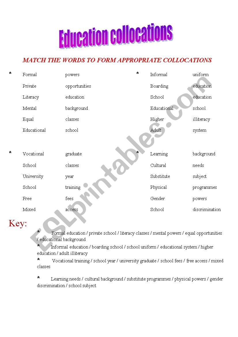 education collocations worksheet