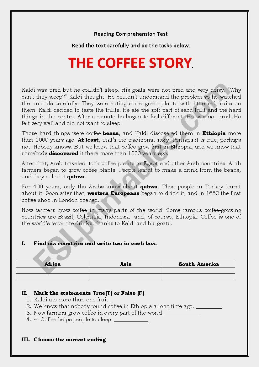 Coffee story worksheet