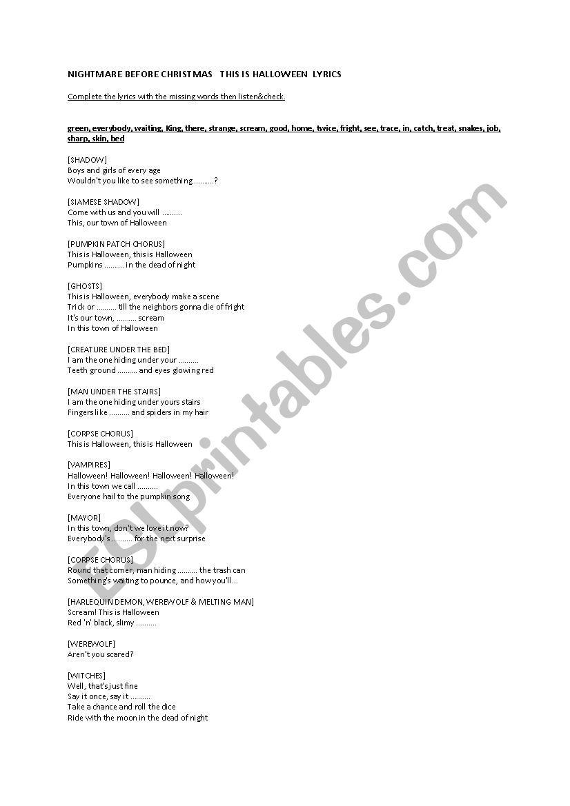 This is Halloween Lyrics Nightmare Before Christmas - ESL worksheet ...