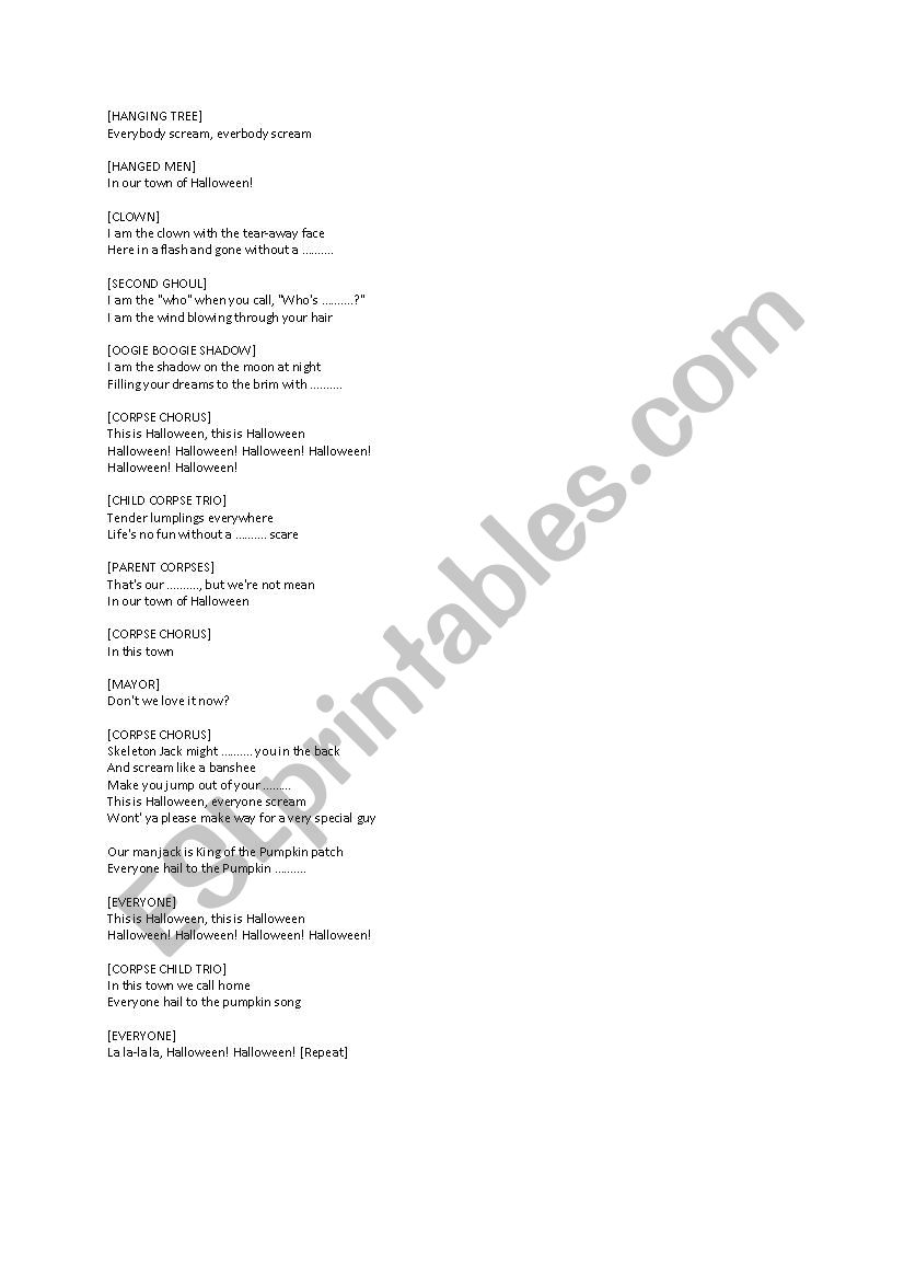 This is Halloween Lyrics Nightmare Before Christmas - ESL worksheet ...