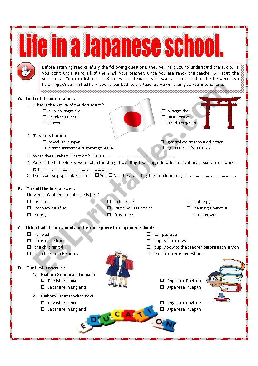Listening - Life in a Japanese school + video link + key + tape script
