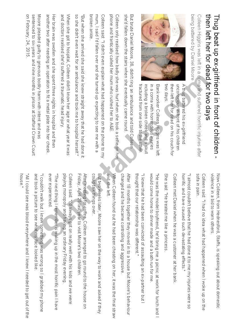 Reading comprehension: Violence against women - ESL