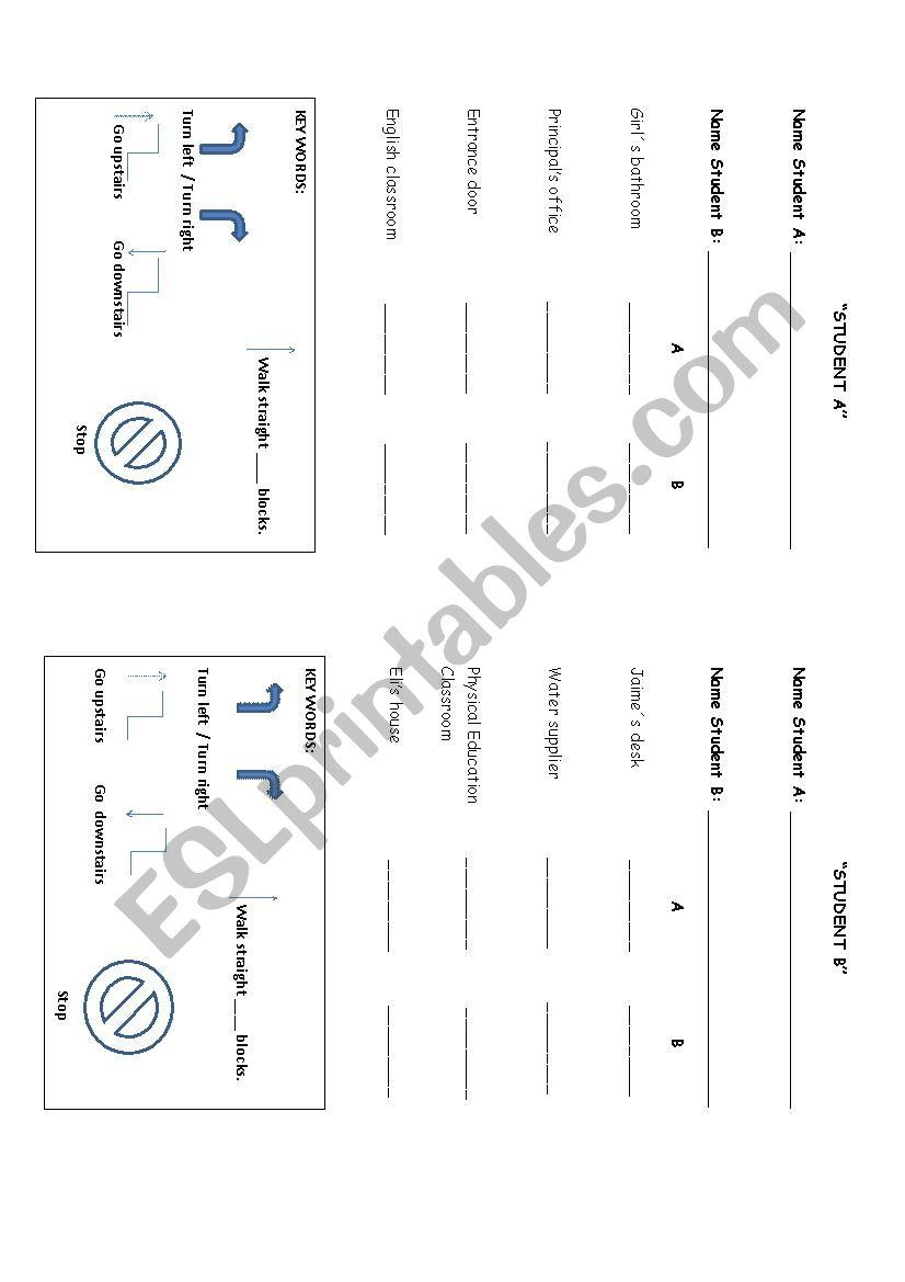 Tips for giving directions worksheet