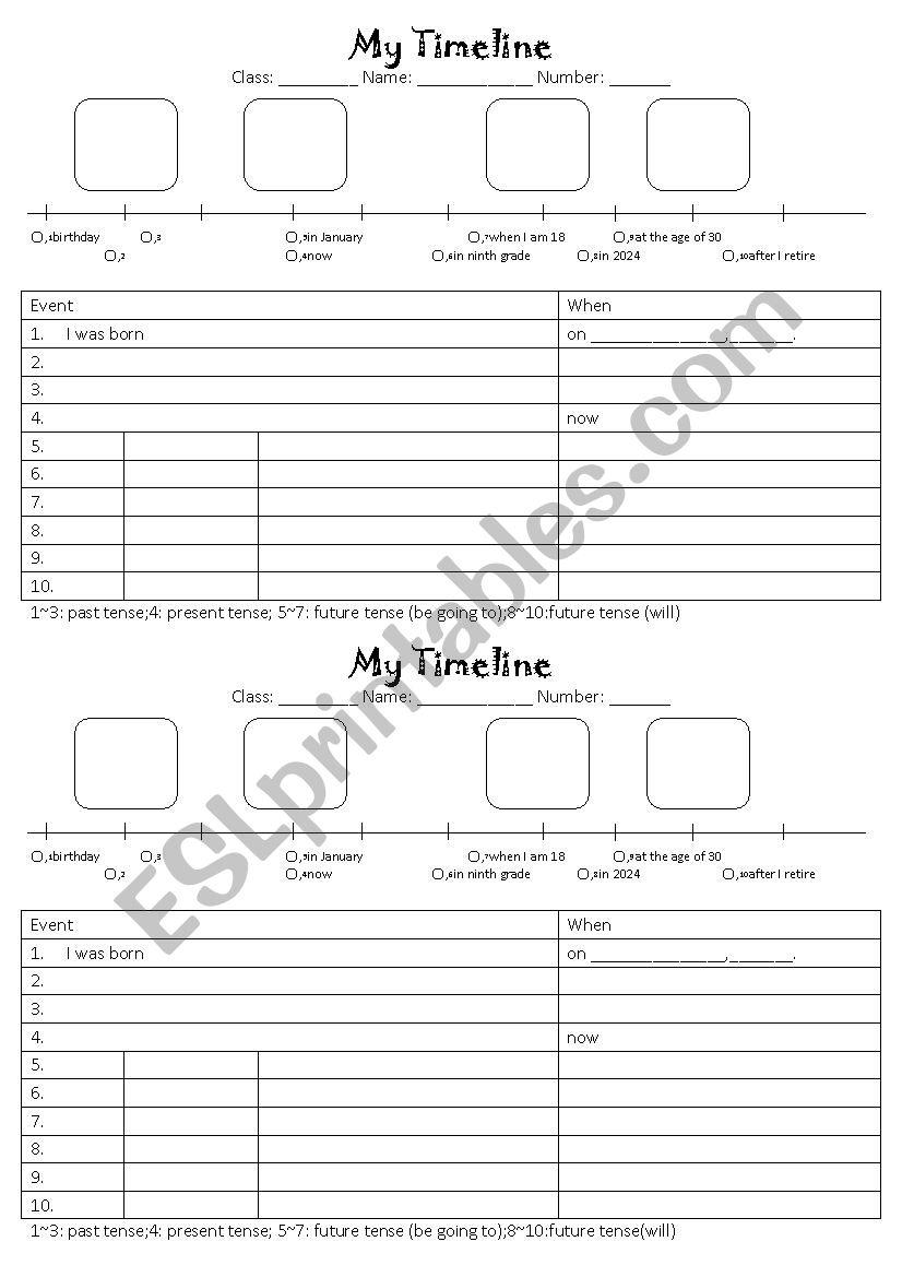 My timeline esl worksheet by sshorng my timeline worksheet ibookread Read Online