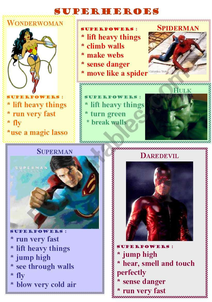 superheroes abilities worksheet